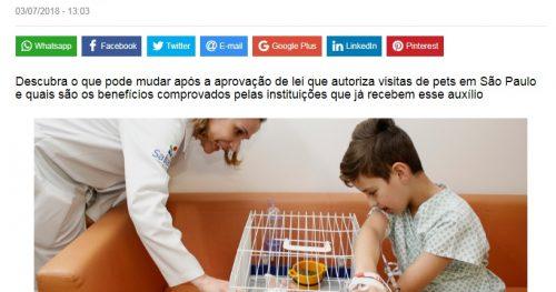 Visita de pets a pacientes é tema de reportagem em revista