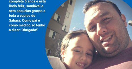 Conheça a história de Gustavo, 5 anos, que passou por uma internação no Sabará devido a Meningite bacteriana