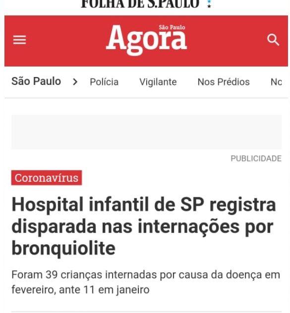 Especialista do Sabará é fonte em matéria para o Agora SP sobre bronquiolite