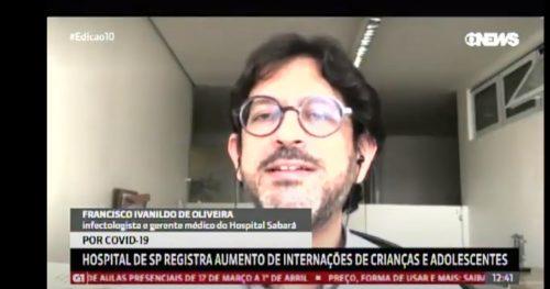 Especialista do Sabará fala sobre aumento de internações por doenças respiratórias na Globonews